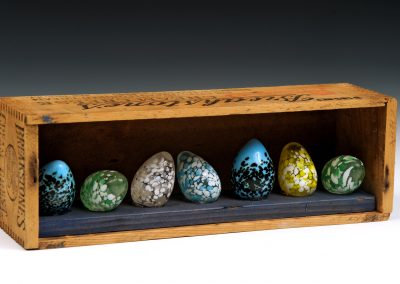 Glass Eggs in a Vintage Box, 10 3/4 inches x 3 inches