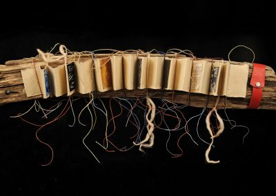 Accordion Pages Tied to Driftwood, 5 x 27