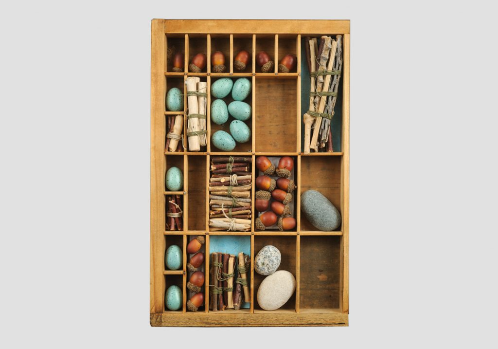 Printers Tray with Stones and Wood, 16 ½ by 10 ½