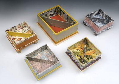 Square Boxes Open, 4 inches square x 1 1/2, 6 1/2 x 5 x 2 1/2